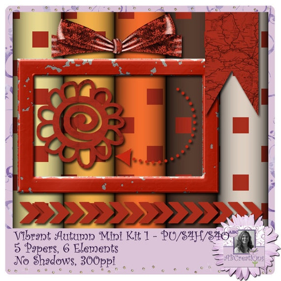 Vibrant Autumn 6 - a digital scrapbooking kit with 5 papers and 6 embellishments