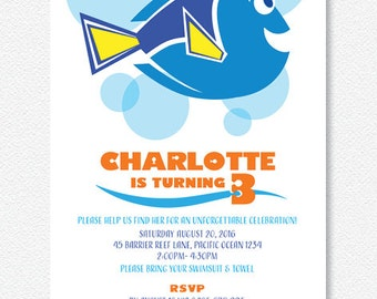 Girl's Blue & Orange Dory Party Invitation | Personalised Digital file