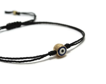Evil Eye Bracelet, Thread Bracelet, Evil Eye Jewelry, Slim Bracelet, String Bracelet, Minimalist Bracelet, Gift Idea, Protection Bracelet