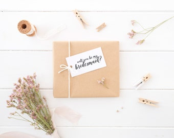 Bridesmaid Gift Tag, Proposal, Card, Will You Be My, Maid/Matron Of Honor, MOH, Junior, Jr, Flower Girl, Minimal, Simple, Wedding, Party Tag