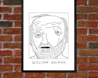 Badly Drawn William Golding - Literary Poster - *** BUY 4, GET A 5th FREE***