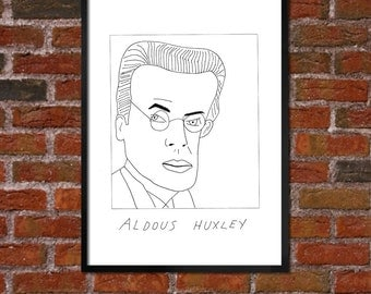 Badly Drawn Aldous Huxley - Literary Poster - *** BUY 4, GET A 5th FREE***