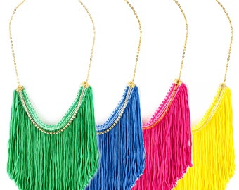 Colorful Fringe Necklace, Statement Necklace, Elegant Necklace, Boho Chic Necklace