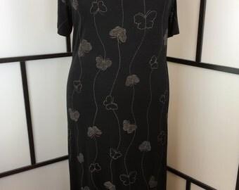 Black Butterfly Dress, Slinky Maxi Dress, Es.se, Long Black Dress, Women's Vintage Dress, Plus Size