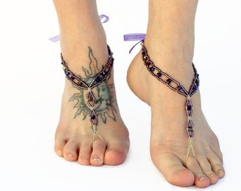 Purple Crystal Barefoot Sandals, Dance shoes, Yoga, Earthing, Weddings, Foot Jewelry, Accessories, Feet Jewels, Bare Shoes, Toe Thong, Hemp