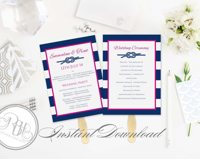Nautical Wedding Program Fan Template-INSTANT DOWNLOAD-DIY Editable Text Only-Nautical Navy White Stripe Pink with Reef Knot-Deirdre