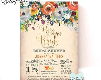 Fall Bridal Shower Invitation Rustic Fall Autumn Shower Leaves