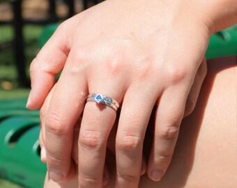 Square Blue Zircon Ring, Blue Zircon Solitaire, Blue Zircon Silver Ring, December Birthstone, Square Stone Mothers Ring, Square Stone Ring