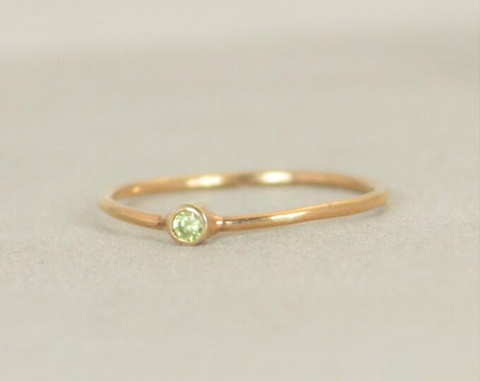 Tiny Peridot Ring, Peridot Ring, Filled Rose Gold, Rose Gold Peridot, August Birthstone, Mother's Ring, Gold Ring, Stacking Ring, Alari