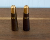 vintage mid-century modern salt and pepper shakers / 1960s wood and brass salt and pepper set