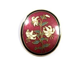 Vintage lily cloisonne brooch, red enamel, oval flower pin, cloisonne lily, white lily, white lilies, wine cloisonne brooch, white flower