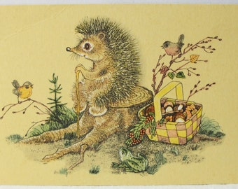 "Illustrator Golubev. Vintage Soviet Postcard ""Tired!"" - 1968. Sovetskiy hudozhnik. Hedgehog, Stump, Mushrooms, Birds, Frog, Basket"