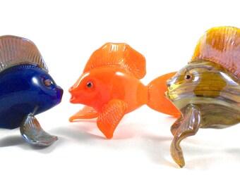 Glass Fish- hand sculpted glass, coastal beach decor, sea creatures, underwater, cobalt blue, bright orange, iridescent tan, unique gifts