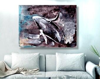 Whale Art, nautical art, nautical decor, beach house decor, beach decor, whale gift, ocean decor, humpback whale, canvas print, 11x14,