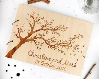 Tree Wedding Guest Book, Wedding Wood Advice Book, Fall Wedding Guest Book, Wood Guest Book, Custom Guest Book, Tree of Life Guest Book