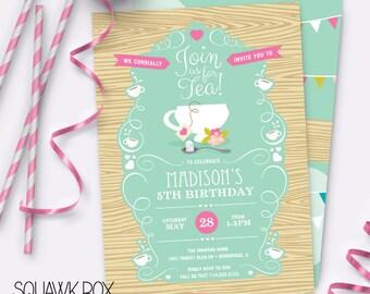 Garden Tea Party Birthday Invitation Set – Printable Invitation and Thank You Card by Squawk Box Studio