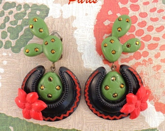CACTUS - TEX MEX - Clips Earrings, with Raspberry Red Cactus Flower.