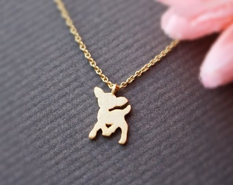 Brushed finish Bambi pendant necklace, Deer necklace, Everyday necklace, Bridesmaid gift, Wedding necklace