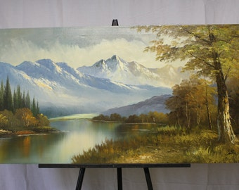 Cabbetti Handmade oil painting Amazing Colorado scene from 1960's 24 x 48 Large Painting of Mountains with trees and river. LOVE