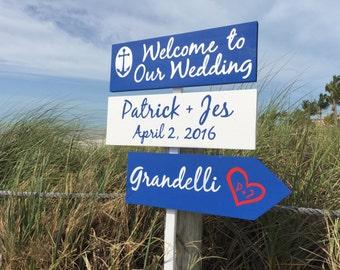 Welcome wedding sign, Navy Anchor Wedding Decor, Destination Nautical Wedding Favors