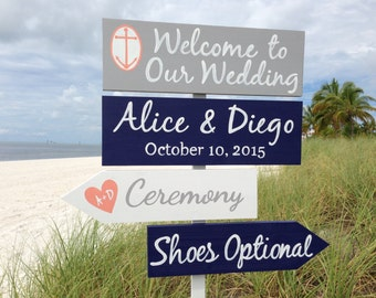 Silver Welcome Wedding Sign, Nautical Wedding Decor, Shoes Optional Directional Sign, Silver Wedding