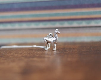 Llama Alpaca Necklace • Mothers Day gift present for mum wife girlfriend her, sterling silver jewellery, south america, peru, 3D, wildlife