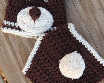 Crochet Bear Diaper Cover Set, Baby Bear Diaper Cover, Bear Diaper Cover, Baby hats, Bear Hat, LuvBeanies, bear beanies, hats for babies