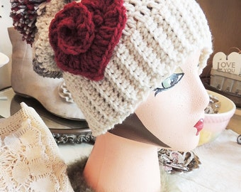 Crochet hat with Heart, LuvBeanies, Valentines day gift, Crochet hats for women, Crochet hats for girls, photo prop, ski hat, stocking hat