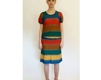 Vintage MISSONI Chevron Skirt Top Set c.1970's XS-S