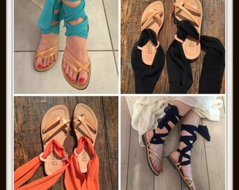 Lace up Greek leather sandals for women. Leather sandals with scarf laces.FREE SHIPPING in the USA, Tan flat sandals - Marianthi
