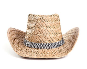 Cowboy hat , Men's sun hats , Straw hat  , Black and white decoration.