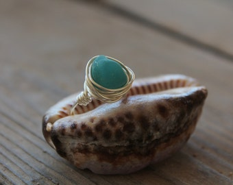 Neon Teal Sea Glass Ring