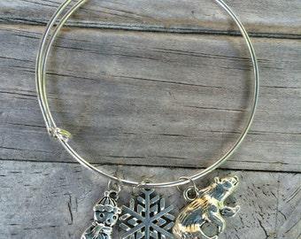Christmas bracelet, Bear Bracelet, Snowflake bracelet, Charm bracelet, Snowman Bracelet, Winter Bracelet
