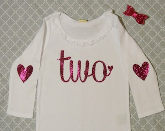 TWO Birthday Long Sleeve Shirt  White with Hot Pink Glitter