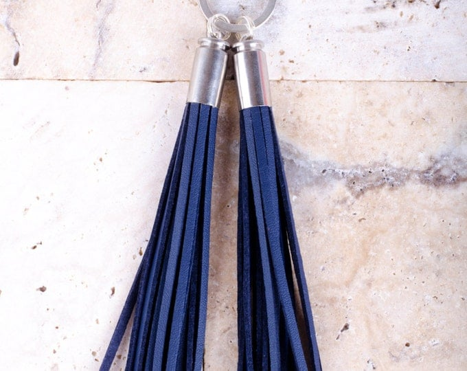 Vegan Leather Tassel Keyrings in Navy