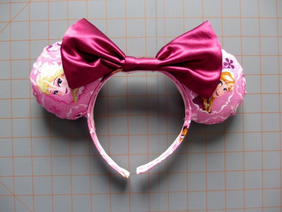 Frozen Elsa and Anna Pink Glitter Print Mouse Ears Headband