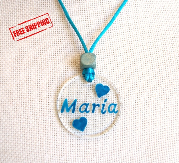 Custom Name Necklace - Free Shipping - Glass Necklace - Personalized - Pendant - Hand painted - Name of your couple, friend, child - Heart