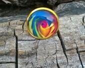 Multi Colored Rose Resin Ring/Rose Resin Ring/Colorful Rose Resin Ring/Many Colors Rose Ring/Rainbow Rose Resin Ring