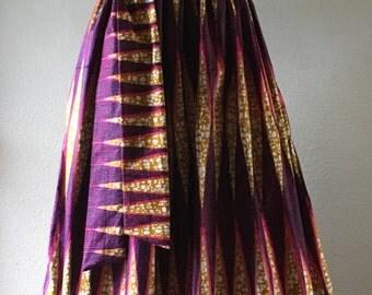 Summer Beauty Dutch Wax Sleeveless Maxi Dress With Pockets and Sash Tan Hot Pink Black Print 100% Cotton