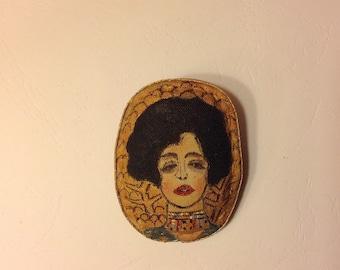 Hand painted brooch pin wearable art textile brooch Woman portrait brooch painting Fabric brooch  accessories  Stylish brooch  Gustav Klimt