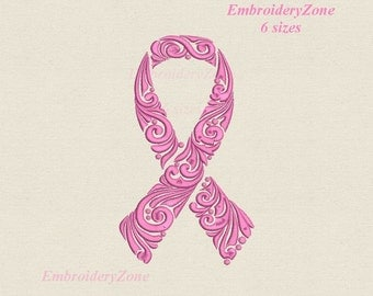 Pink ribbon Curlz  machine Embroidery design. Breast Cancer Awareness Ribbon. 6 sizes Hoop 4x4 5x7 6x10 7X11.