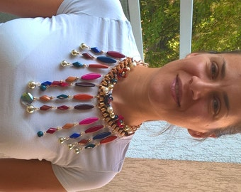 Multicolored jewelry necklace acrylic beads gold chain boho necklace