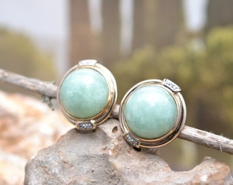 RESERVED: (final payment) Estate Vintage SANUK 14K Yellow Gold and Genuine Jade Cabochon Earrings with Diamond Accents
