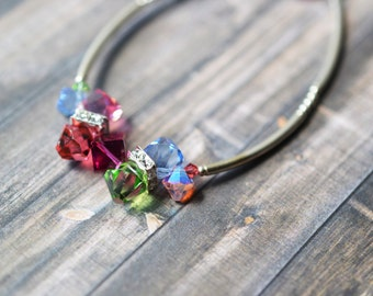 Sterling Silver Rainbow Crystal Beaded Bracelet