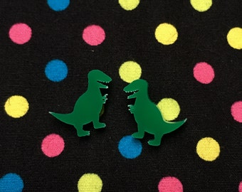 Green T-Rex Stud Earrings