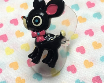 Black Deer Fawn Adjustable Ring