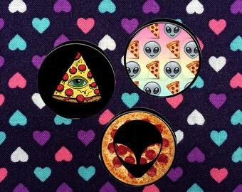 Alien Pizza Plugs- Fake,5mm,6mm,8mm,10mm,12mm,14mm,16mm,18mm,20mm,22mm,24mm,25mm,26mm,28mm,30mm,32mm,34mm,36mm,38mm,40mm,42mm,44mm,50mm