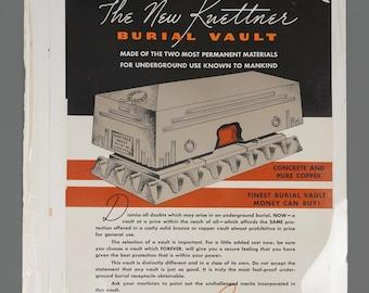 1960s Poster Kuettner Burial Vault Advertisment Funeral Home Mortuary Casket Vintage Poster