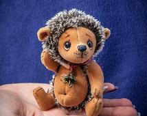 "Cute miniature mini 4.7"" Teddy Hedgehog artist handmade toy OOAK by Yumi Camui"
