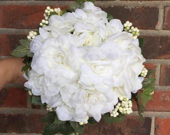 White Gardenia Bouquet - Small Gardenia Bouquet - Gardenia Bouquet - White Bouquet - Green and White Bouquet - Silk Gardenia Bouquet